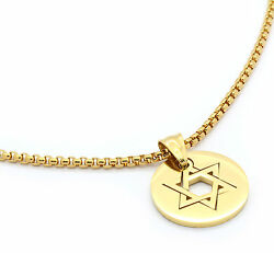 Stainless Steel Gold Plated Star Of David Pendant 24 Round Box Necklace Chain23
