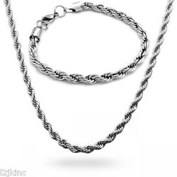 Stainless Steel 5mm French Rope Chain And Bracelet Mens Necklace 24 Inch