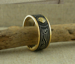 Silver Celtic Warrior Shield Wedding Ring 18K Bead & 10K Trim Irish BORU Size 10