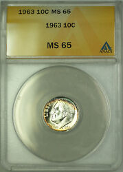 1963 Silver Roosevelt Dime 10c Anacs Ms 65 Toned