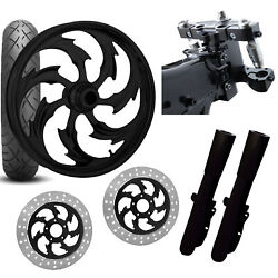 Rc 26 Assault Black Wheel Tire Neck Rake Front End Package Harley Dual Disc