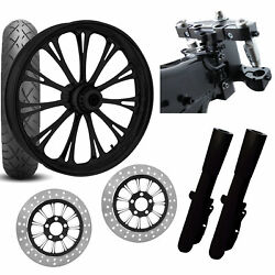 Rc 26 Imperial Black Wheel Tire Neck Rake Front End Package Harley Dual Disc