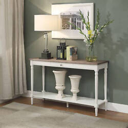 Console Table Vintage French Country Drawer Woodgrain Top White Antique Style