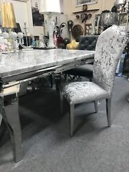 Marble Louis Dining Table 1.5m Wide With Curved Chrome Leg And Chairs Option