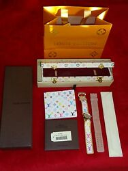 NEW LOUIS VUITTON Murakami Tambour Limited Edition Women Leather Watch ** RARE