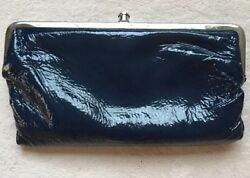 Hobo International LAUREN Leather Double Frame Clutch Wallet Navy Blue Shiny