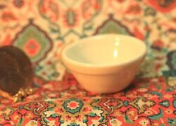 Dollhouse Miniature Stoneware Look Mixing Bowl In Creme