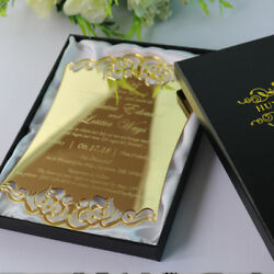 60-Personalized silvergold Acrylic Wedding Invitation cards + Foiled Boxes