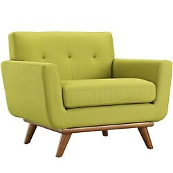 Mid-Century Modern Engage Armchair With Wooden Legs Wheat Grass Green