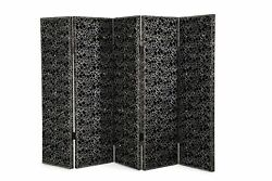 New Hollywood Swank Contemporary 5-panel Black And White Decorative Folding Screen