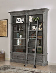 Gramercy Park Rustic 2 Piece Museum Bookcase Set In Vintage Burnished Smoke