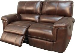 Hitchcock Transitional Power Dual Reclining Real Leather Loveseat Cigar Finish