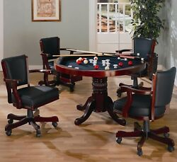 Rosso 3-in-1 Poker Bumper Pool Dining Tableand4 Chairs Game Room Set In Merlot Red