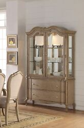 Lichfield Traditional Glass Door China Cabinet In Antique Taupe Finish