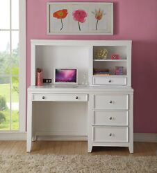 New Lacene Kids Traditional Girl's Youth Computer Desk W/ Hutch In White Finish
