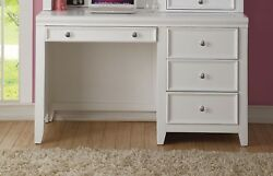 Lacene Kids Traditional Girl's Youth Computer Desk In White Finish