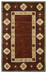 Southwest Soft Wool Area Rug 9 X 12and039 Red Tan Rust Navy Blue Green Brown Tribal