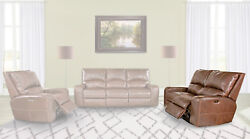 Swift Powered Dual Reclining Leather Loveseat In Bourbon W/ Power Headrest And Usb
