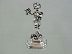 Gorgeous Antique Silver Statue Figurine Boy Putti Cupid European Italy Sterling