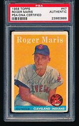 1958 Topps Autographed Signed ROGER MARIS RC #47 HOF PSADNA Authentic