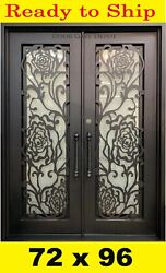 FLORAL DETAIL IRON FRONT ENTRY DOORS WITH TEMPERED GLASS 72''X96'' DGD1050