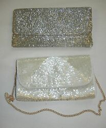 Silver Beaded Moyna Purse And Similar Purse Lot Vintage, Unique
