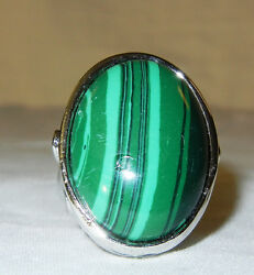 Green And Silver Malachite Turquoise Stained Ring Very Unique