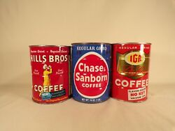 Vintage Hills Brothers Chase And Sanborn Iga Tin Coffee Can Lot Kitchen Decor