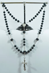 Large And Superb 19thc French Bloodstone Sterling Silver Rosary Jasper 75 G