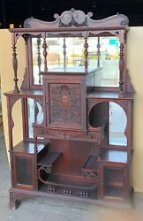 Antique Wooden Display Shelving Cabinet Hutch Mirrors Living Dining Room