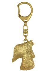 Scottish Terrier Golden Plated Key Ring Solid Keychain CA 843