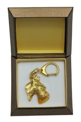 Scottish Terrier Keychain in a Box Golden Plated Key Ring CA 2427
