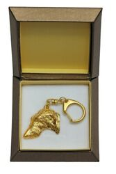 Scottish Deerhound Keychain in a Box Golden Plated Key Ring CA 2438