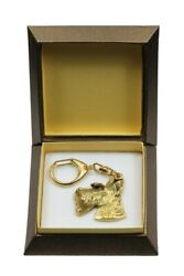 Scottish Terrier Keychain in a Box Golden Plated Key Ring CA 2855