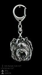 Yorkshire Terrier Silver Keyring Solid Keychain Key Ring with Dog CA 35