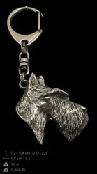 Scottish Terrier Silver Keyring Solid Keychain Key Ring with Dog CA 79