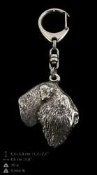 Black Russian Terrier Silver Keyring Solid Keychain Key Ring with Dog CA 90