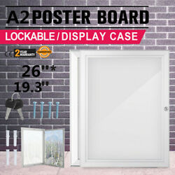 A2 Lockable Outdoor Poster Display Case Box Showboard for Menus Pubs Signs