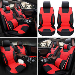 Luxury Car 5 Seat Microfiber Leather Seat Cover SUV Front Rear Cushion + Pillow
