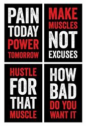 Gym Posters 11x17 Inches Set Of 4 Wall Art Hustling Motivation...
