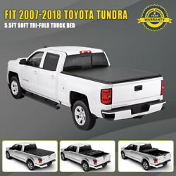 Tri-Fold Soft 5.5ft66in Tonneau Cover For 2007 2008-2018 Toyota Tundra Pickup