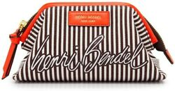 Henri Bendel Canvas Cosmetic Dopp Centennial Stripe Orange Brown White RARE👀NWT $298.00