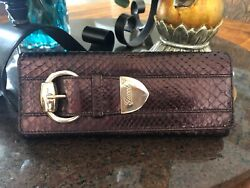 Gucci Python Romy Buckle Brown Patent Leather Clutch