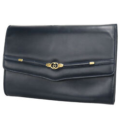 GUCCI GG Logos Clutch Bag Navy Gold Leather Italy Vintage Authentic #R728 Z