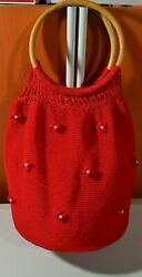 NEW CROCHET KNIT LARGE HOBO RED BAG TOTE PURSE BEAUTIFUL $25.97