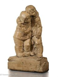 Eskimo Boy And Girl Large Figure After Lladro, Illegibly Signed 1973