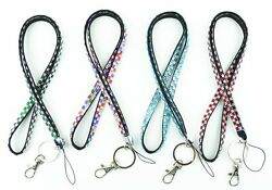 Handcrafted Rhinestone Bling Necklace Lanyard key chain Multi color