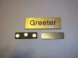 10 = 1x3 Inches Gold / Black Greeter Name Badges Sqr. Or Rounded Corners Magnet