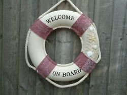 Ship Lifebelt 46 Cm Welcome On Board With Shells And Net/ Boat Life Buoy Ring Belt
