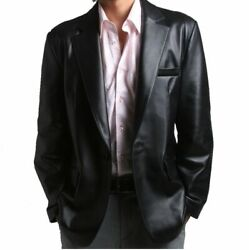 New Menand039s Blazer Black Long Lapel 2button Tailored Fit Soft Genuine Leather Coat